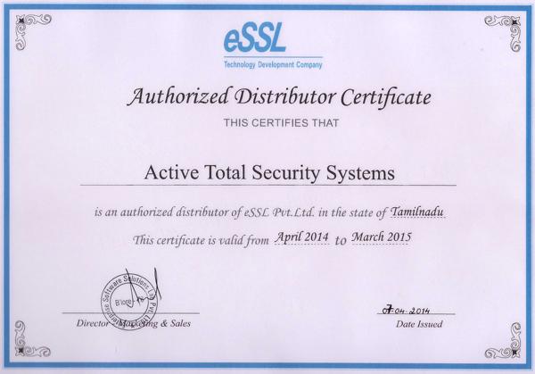 Essl Authorized Distributor Certificate April 2014 March 2015