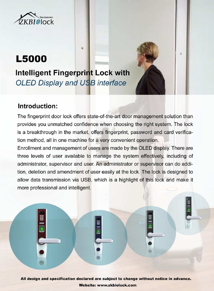 L5000 Intelligent Fingerprint Lock with OLED Display With USB Interface-ATSS Chennai India