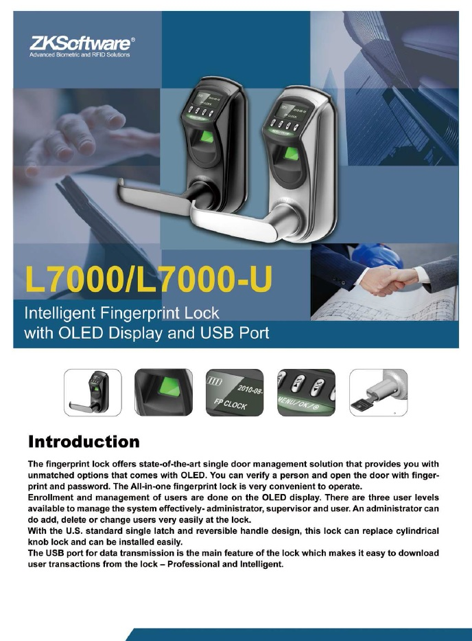 L7000 Intelligent Fingerprint Lock with OLED Display With USB Interface-ATSS Chennai India