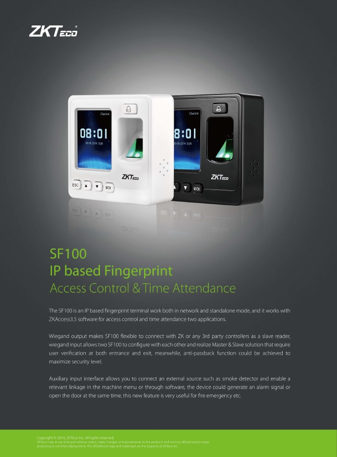 SF100 IP Based Access Control & Time Attendance.